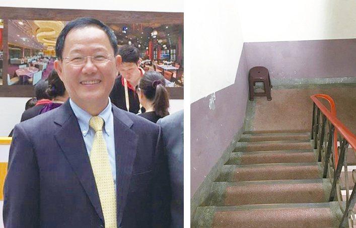 前立委丁守中(圖左)臉書提到,老太太在公寓樓梯放置的椅子(圖右),引發都更話題。...