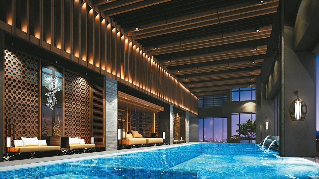 位於60樓的景觀泳池堪稱全台最高的豪宅泳池,享有千萬級夜景。 康堃皇/攝影