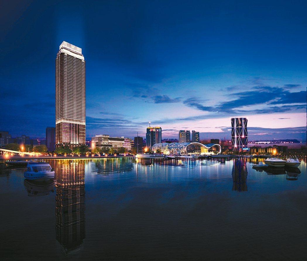 「遠雄THE ONE」基地正對高雄市立圖書總館,坐享山海河港景觀,樓高268米,...