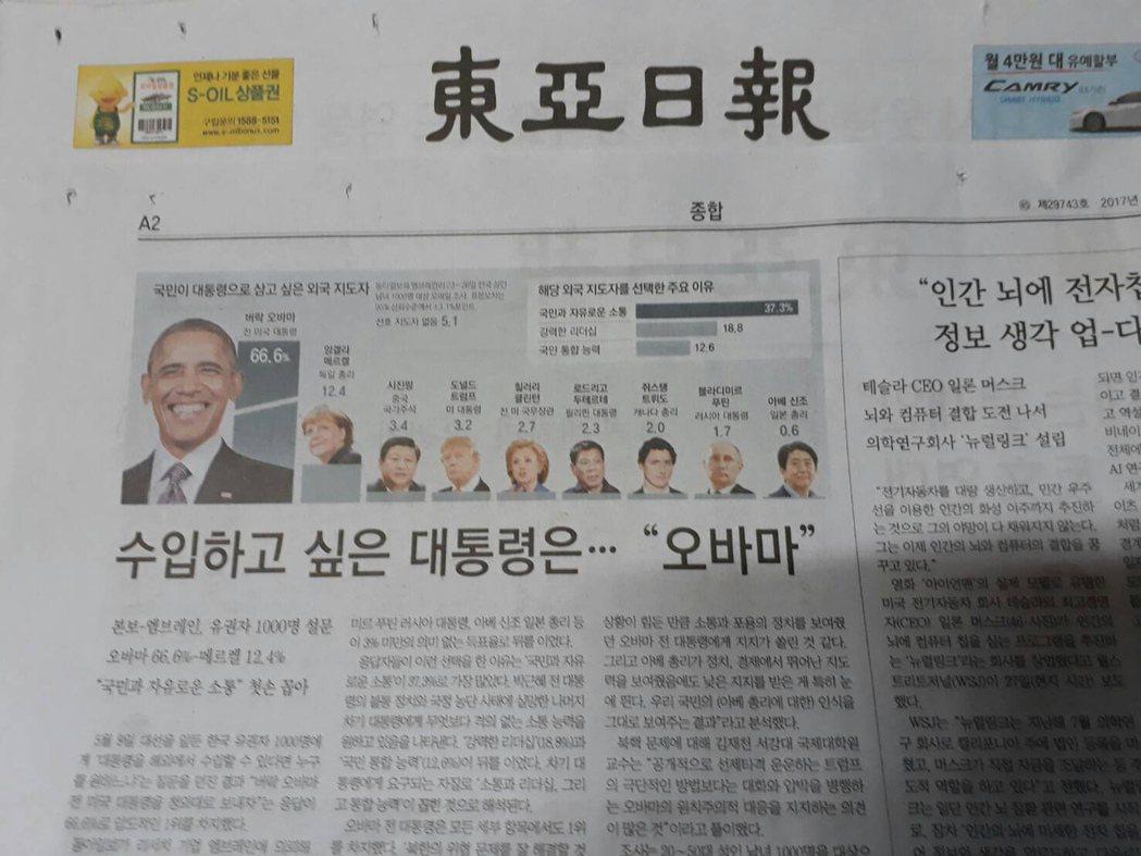 南韓「東亞日報」29日在要聞綜合版頭條以「最想進口的總統─歐巴馬」標題報導,民意...