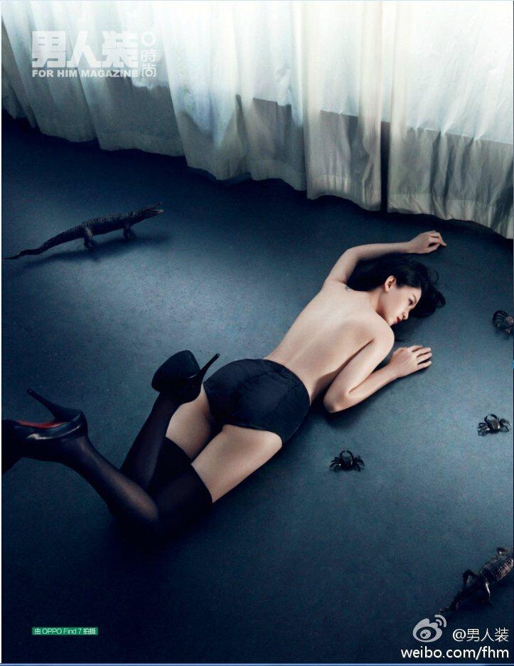 陳喬恩曾為雜誌拍攝大尺度辣照。 圖/擷自男人裝微博