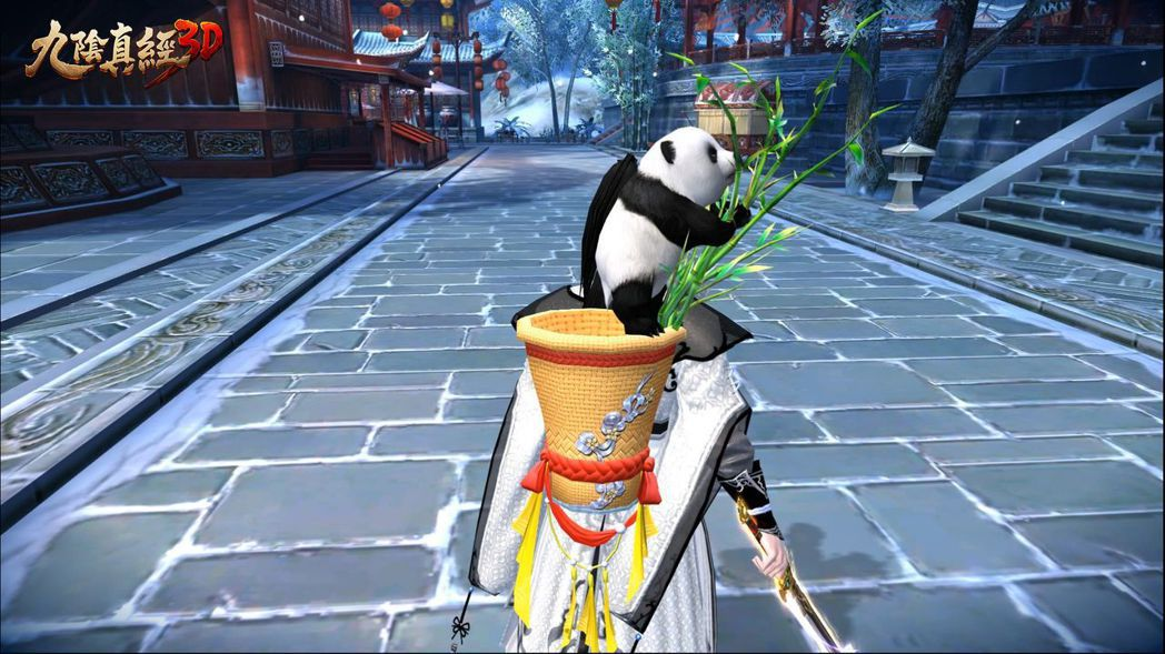 新背飾「萌寶送福」,小熊貓會在背上的竹簍裡秀憨萌。 圖/捷達威提供