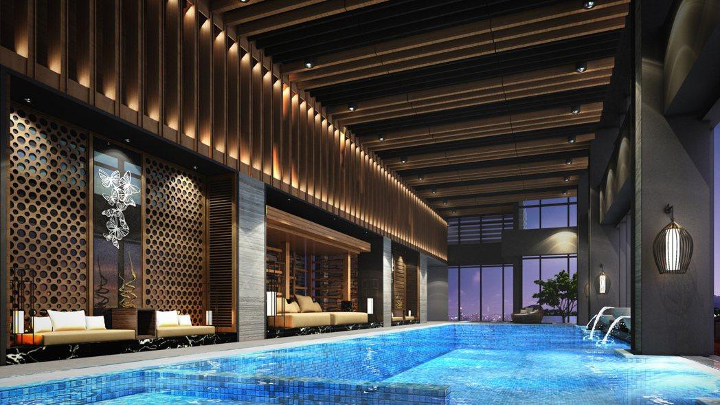 60樓融入峇里島水明漾風情的游泳池。 圖片提供/遠雄建設