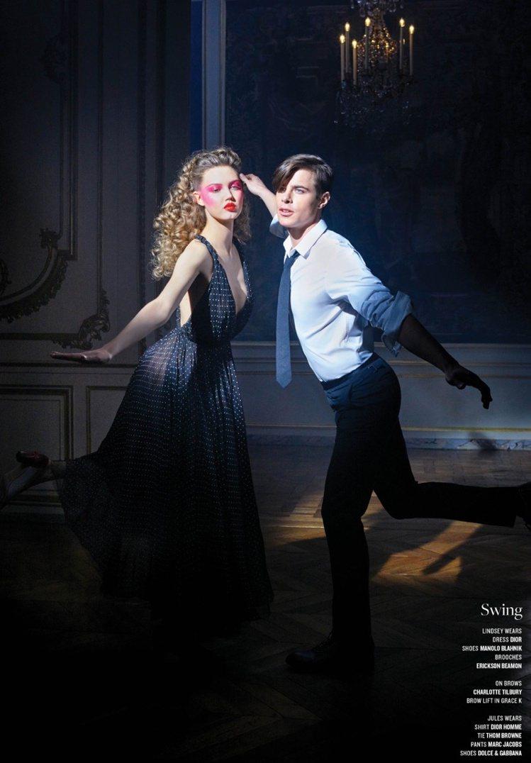 老佛爺幫V雜誌拍攝的「Strictly Ballroom」系列張力足、超吸睛。圖...