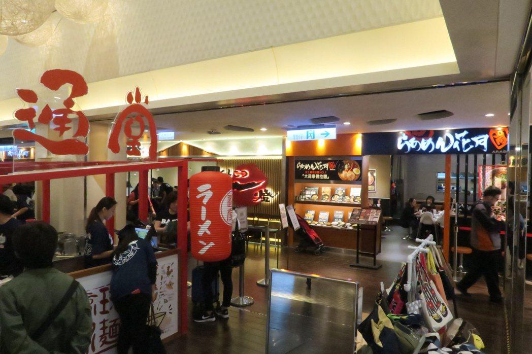通堂、豚骨一燈、花月嵐3間日本拉麵店,距離間隔僅5公尺。記者陳睿中/攝影