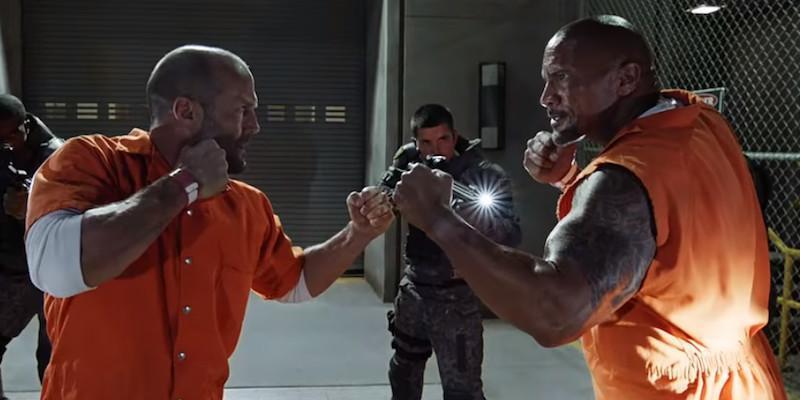 巨石強森和傑森史塔森在「玩命關頭8」也有針鋒相對的場面。圖/摘自imdb