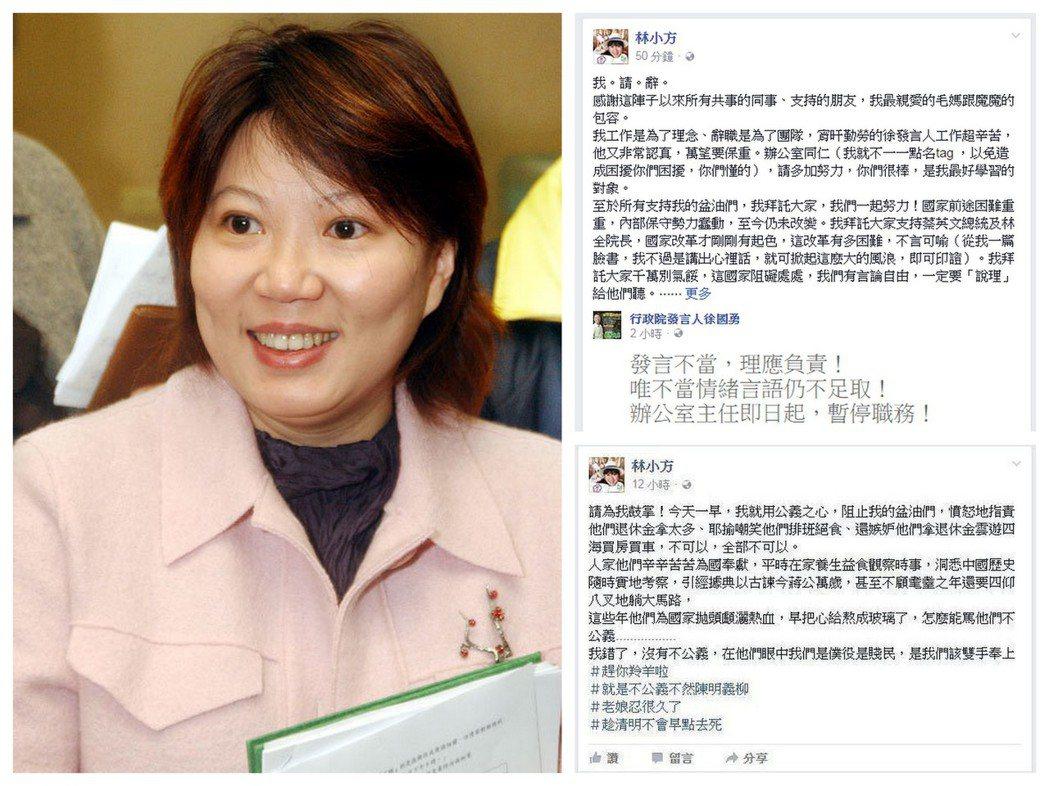 酸言引發議論,徐國勇辦公室主任林育卉自行請辭。 圖/報系資料照、林育卉臉書