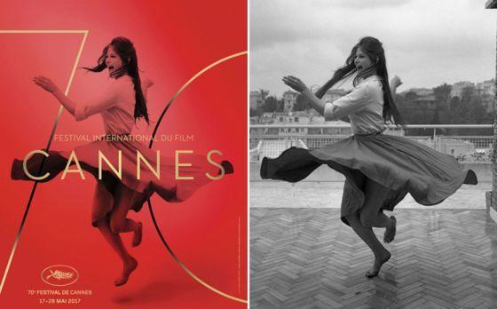 法國坎城影展今年海報以義大利女演員克勞第亞.卡蒂納為主角,這張海報以紅色為底,寫