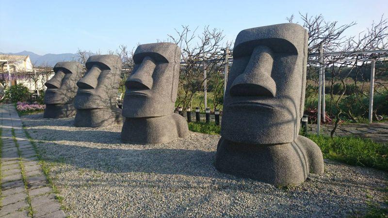 巨大摩艾石像,預計將在今年花季成為超夯打卡熱點之一。(紫藤咖啡園提供)