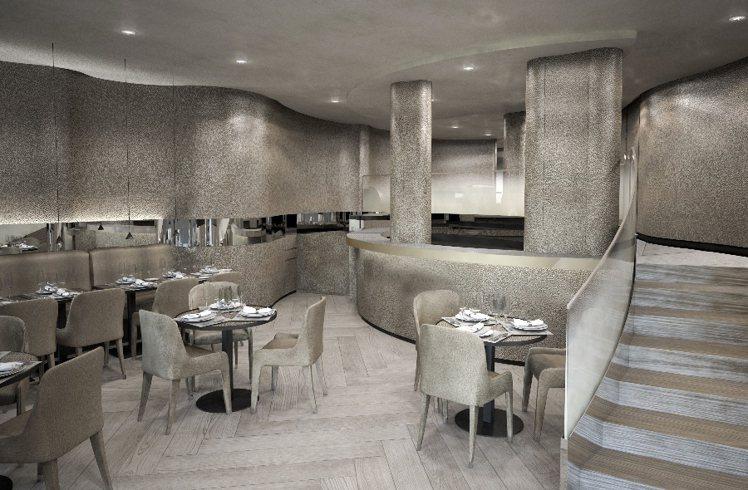 Emporio Armani Caffè佔地 2 層,底層為餐廳的接待區,在一樓...
