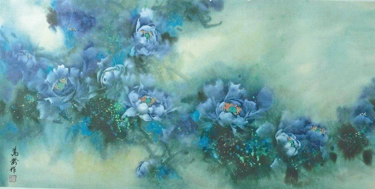 邢萬齡水墨作品〈抽象藍牡丹˙藍色花園〉