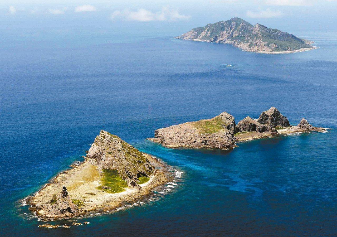 釣魚台群島空照圖。 路透資料照