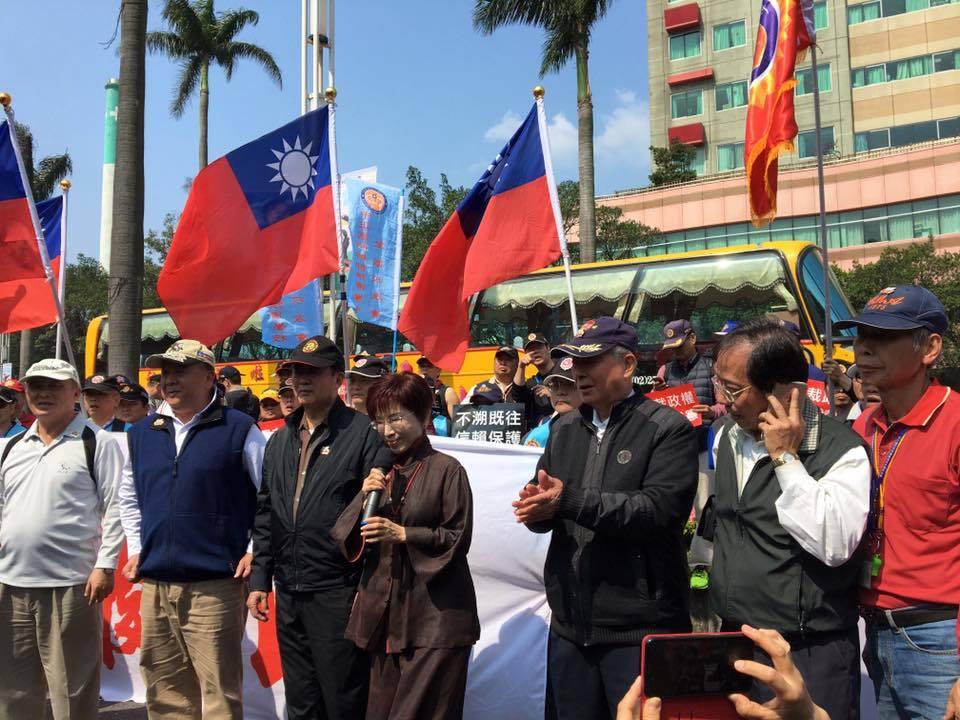 軍系發動八百壯士抗議年金改革,國民黨主席洪秀柱今早到立法院外聲援。記者周佑政/攝...