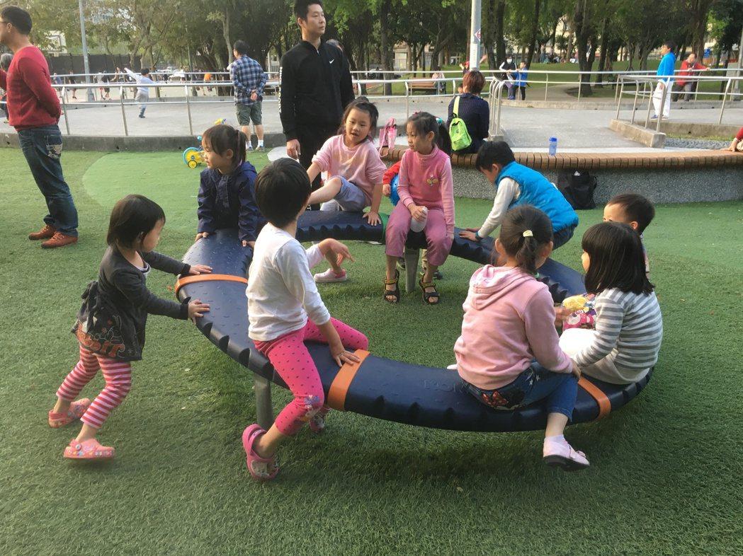 南港區中研公園遊戲場新增的極限飛輪,滿足了大、小朋友愛冒險想挑戰的心理。 記者張...