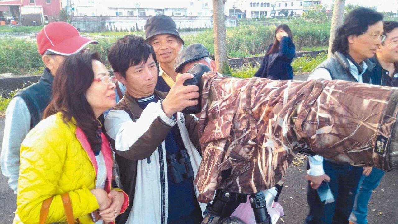 來自全國各地的鳥友架起大砲,來到宜蘭頭城鎮下埔地區拍攝紫鷺身影。 圖/周俊雄提供