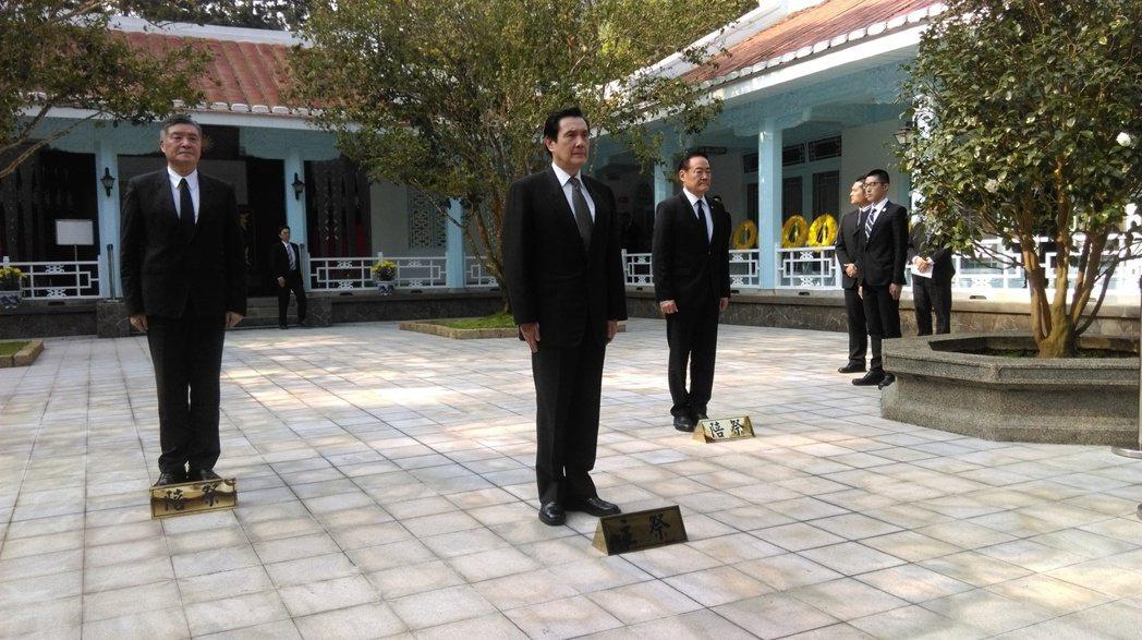 昨天,前總統馬英九依舊去慈湖謁陵。 記者張雅婷/攝影