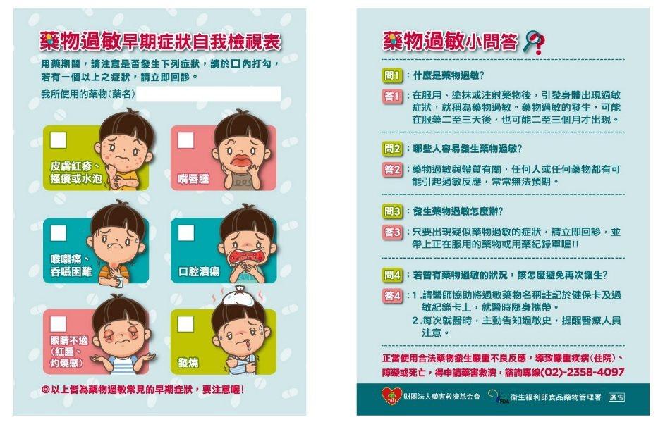 藥物過敏早期症狀自我檢視表。 記者鄧桂芬/翻攝