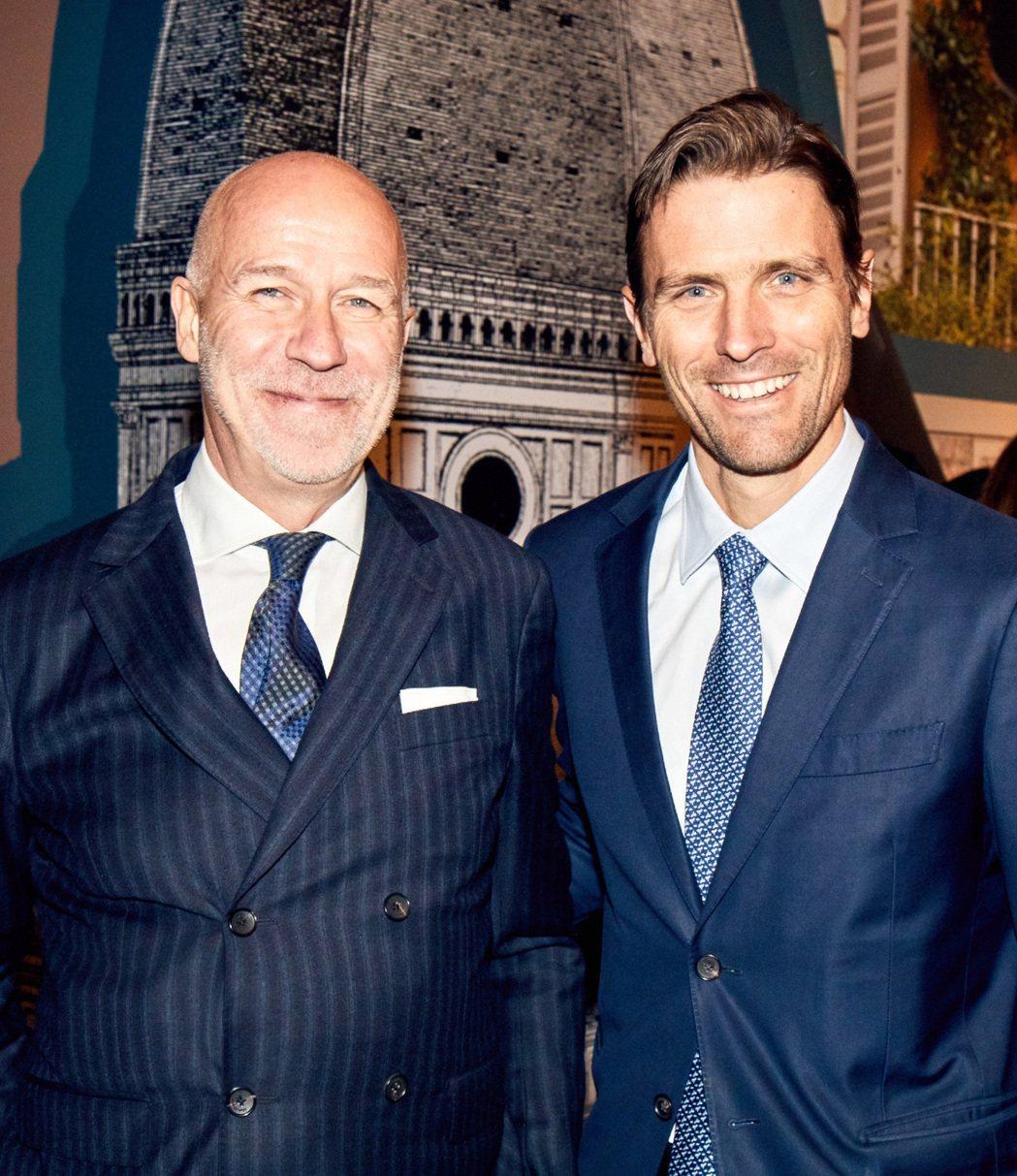 (左至右)Ferragamo集團首席執行長Eraldo Poletto及男女鞋履