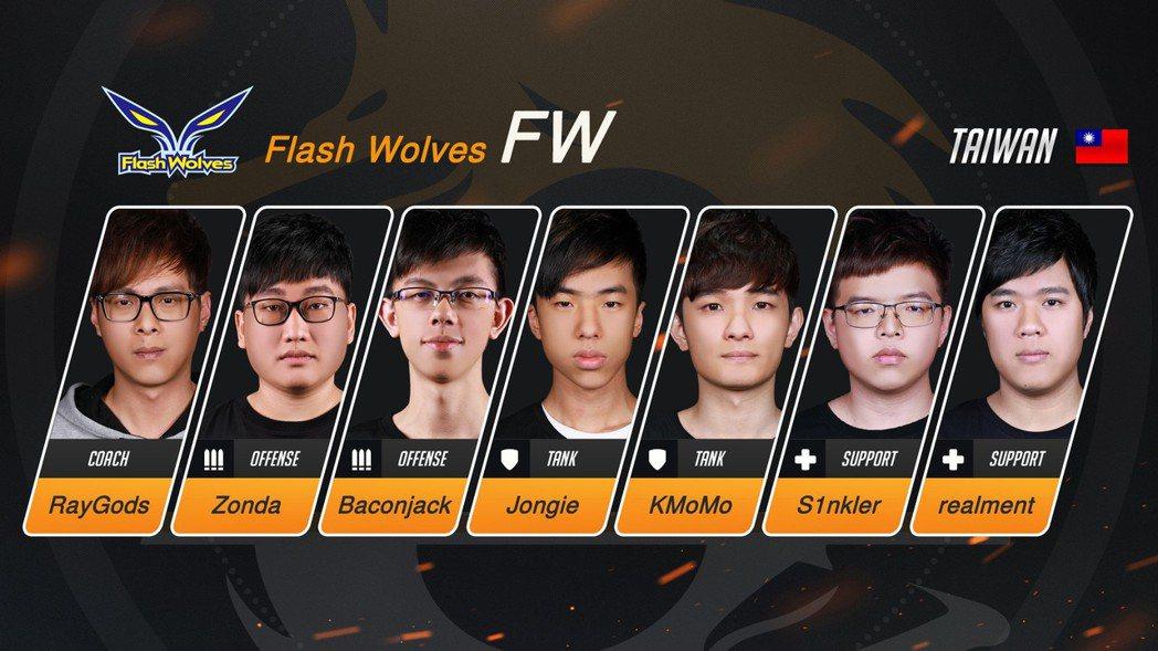 Flash Wolves(FW)《鬥陣特攻》OPC戰隊選手陣容。 圖/暴雪娛樂提...