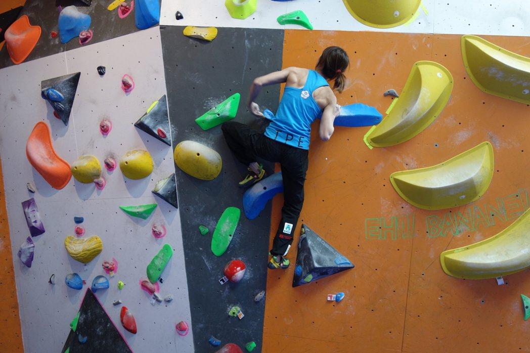 攀岩菁英選手李虹瑩積極練習。 豐謙建設/提供
