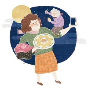 端上熱騰騰的月亮蝦餅,老媽開心大啖,讚不絕口。飯後,我將蘋果、芭樂、鳳梨和火龍果...