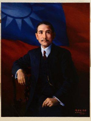 國父紀念館的孫文遺像(圖),出自畫家陳輝東之手。 圖/意傑藝術提供