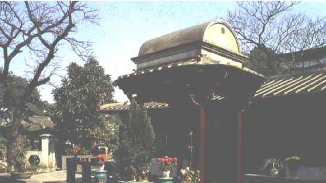 林家花園的汲古書屋前亭屋頂上就是一座棺木造型,有加官晉爵的含意。 圖/摘自台灣省...