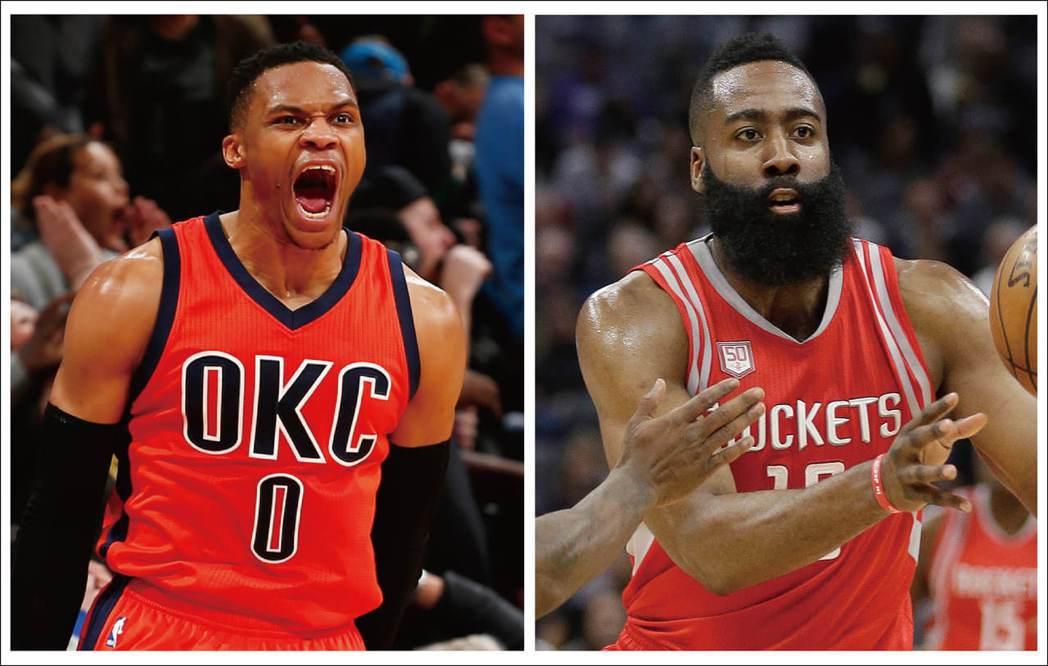 NBA MVP爭奪戰,不少人支持「大三元」紀錄王衛少(左圖),但戰績派擁護哈登(...