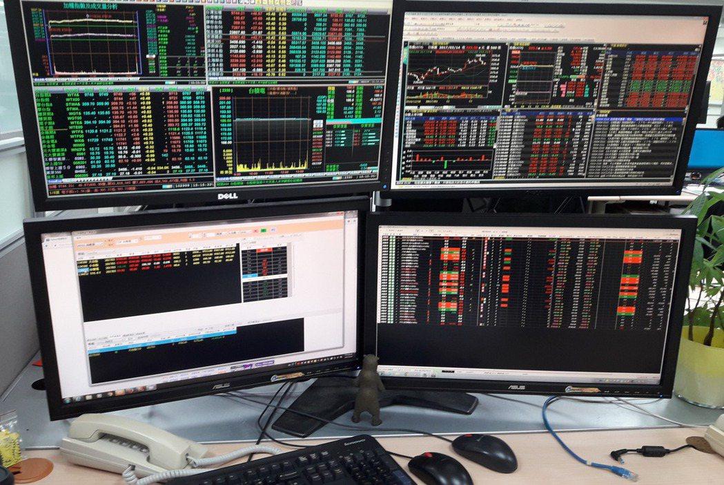 專業投資機構操盤人看盤,四、五台電腦螢幕是基本配備。 記者廖賢龍/攝影