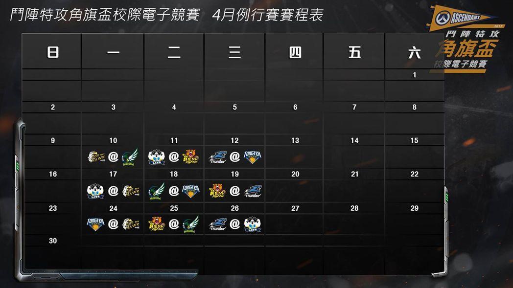 《鬥陣特攻》角旗盃校際電競賽4月例行賽賽程表。