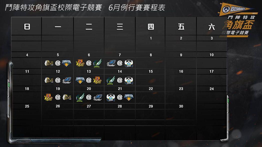 《鬥陣特攻》角旗盃校際電競賽6月例行賽賽程表。