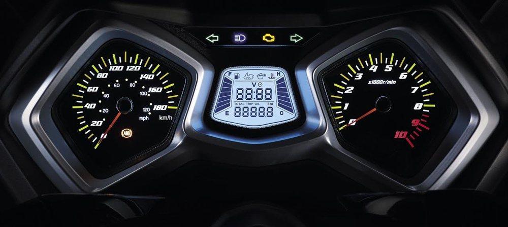 雙儀錶板與中央資訊幕。 SYM三陽機車提供