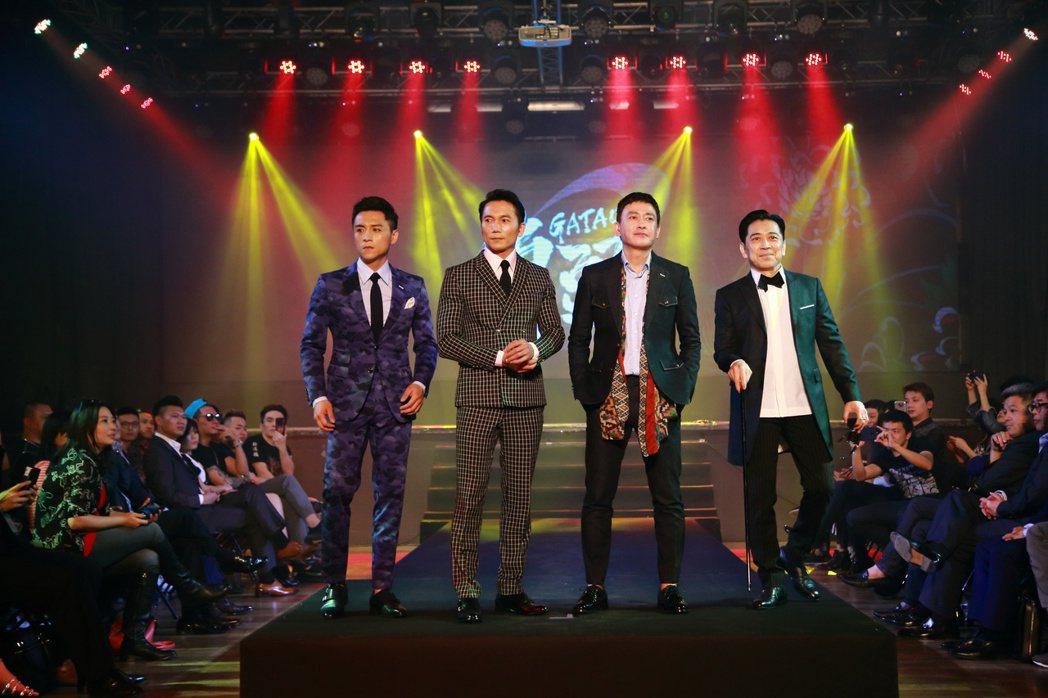 「角頭2 王者再起」今日舉行演員發佈會,主演鄭人碩(左)、鄒兆龍、王識賢、高捷雄