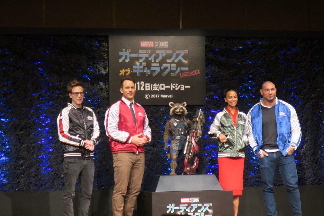 「星際異攻隊2」導演、主角出席東京記者會。圖/記者蘇詠智攝影