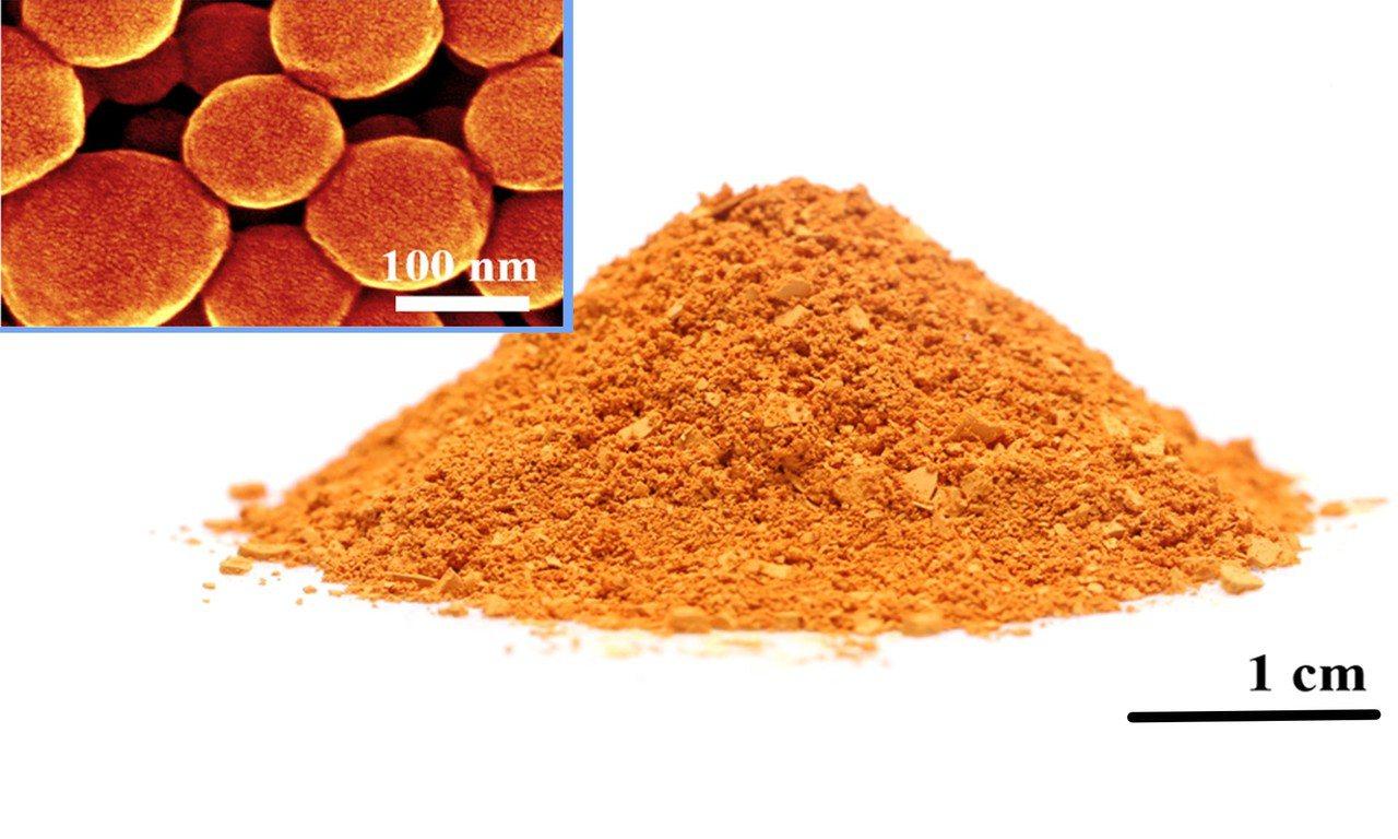 奈米紅磷的粉末。圖/清華大學供給