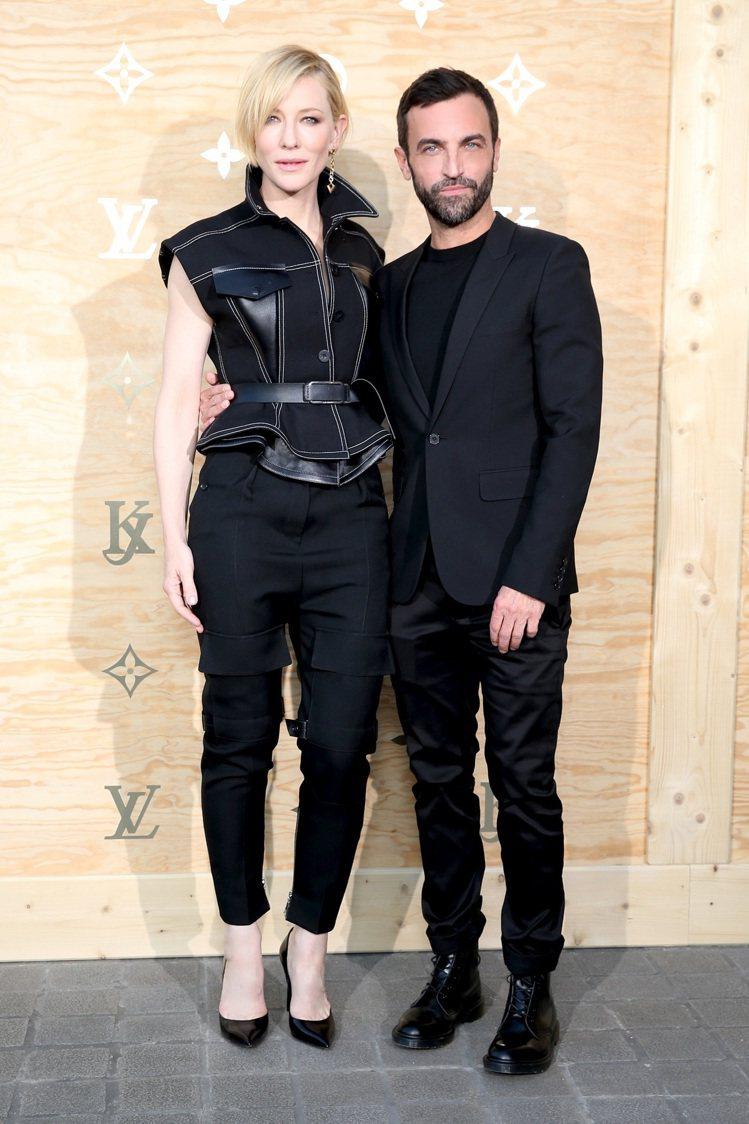 凱特布蘭琪和女裝系列設計總監Nicolas Ghesquiere。圖/LV提供