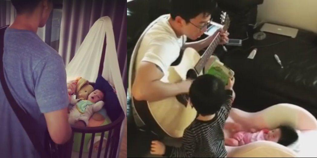 隋棠老公為兒子、女兒都曾自彈自唱過。