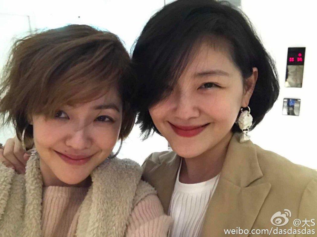 大S(右)與小S(左)演藝圈最佳姊妹檔。 圖/擷自大S微博