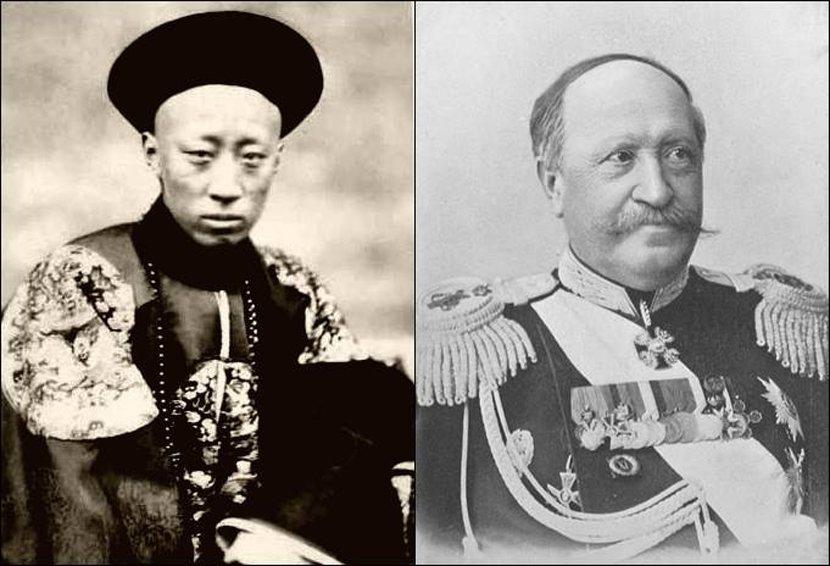 中俄《北京條約》簽定代表,恭親王奕訢(左)與俄國的伊格那提耶夫伯爵(右)。 ...