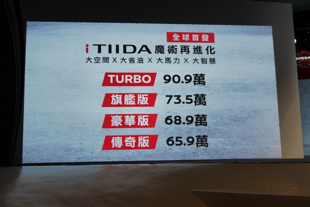 全新Nissan iTIIDA各車型價位表。 記者陳威任/攝影