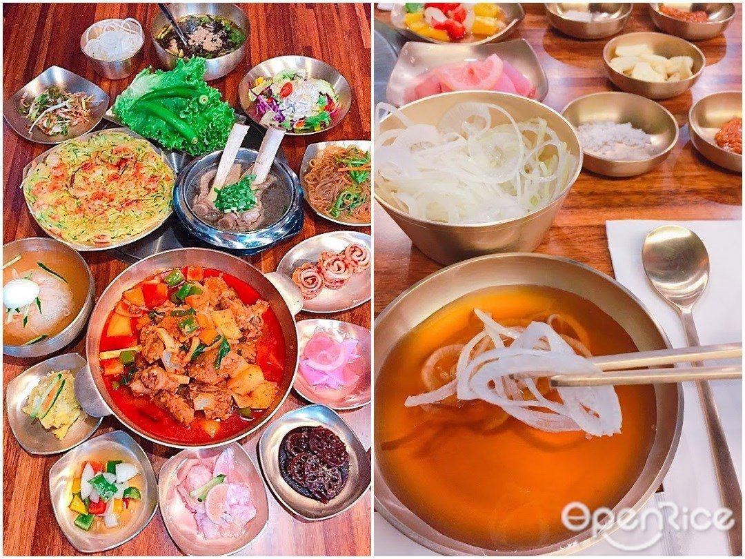 ▲陳列裝潢及設備上也都從韓國原裝進口,特選自新羅時期王室御用的黃銅餐具。