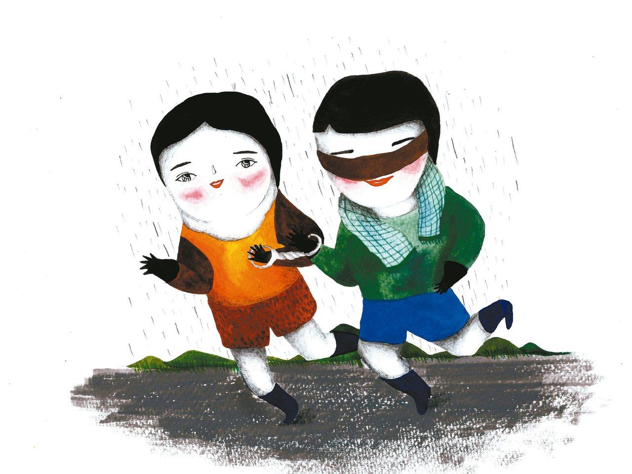 兩人三腳,步伐協調整個下午陰雨綿綿,燦煌一身輕裝,在自家樓下等陪跑員。午後的...