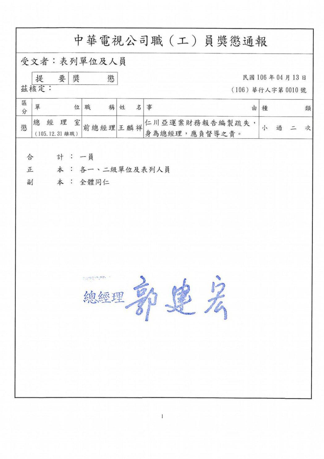 華視總經理郭建宏記前總經理兩支小過。圖/讀者提供