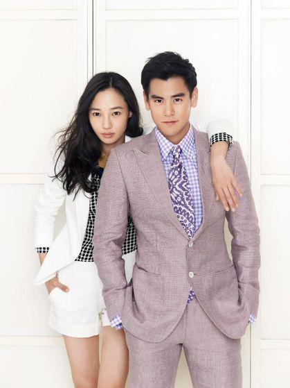 白百何(左)曾和彭于晏合拍電影「分手合約」。圖/摘自微博