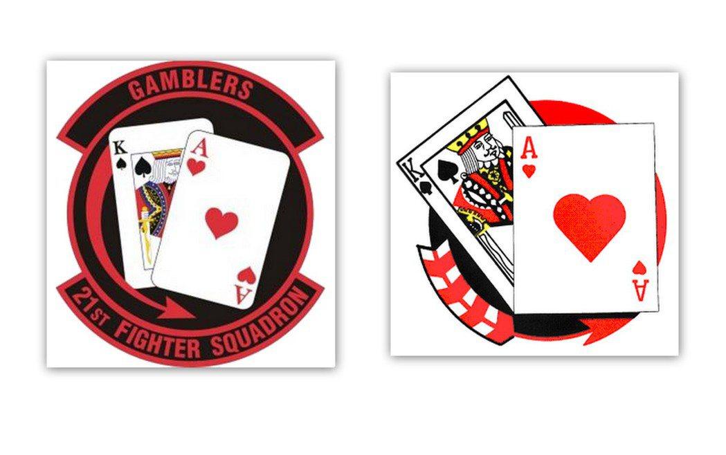 21中隊隊徽:左為美軍版,右為國軍版。 圖/取自維基、空軍官網