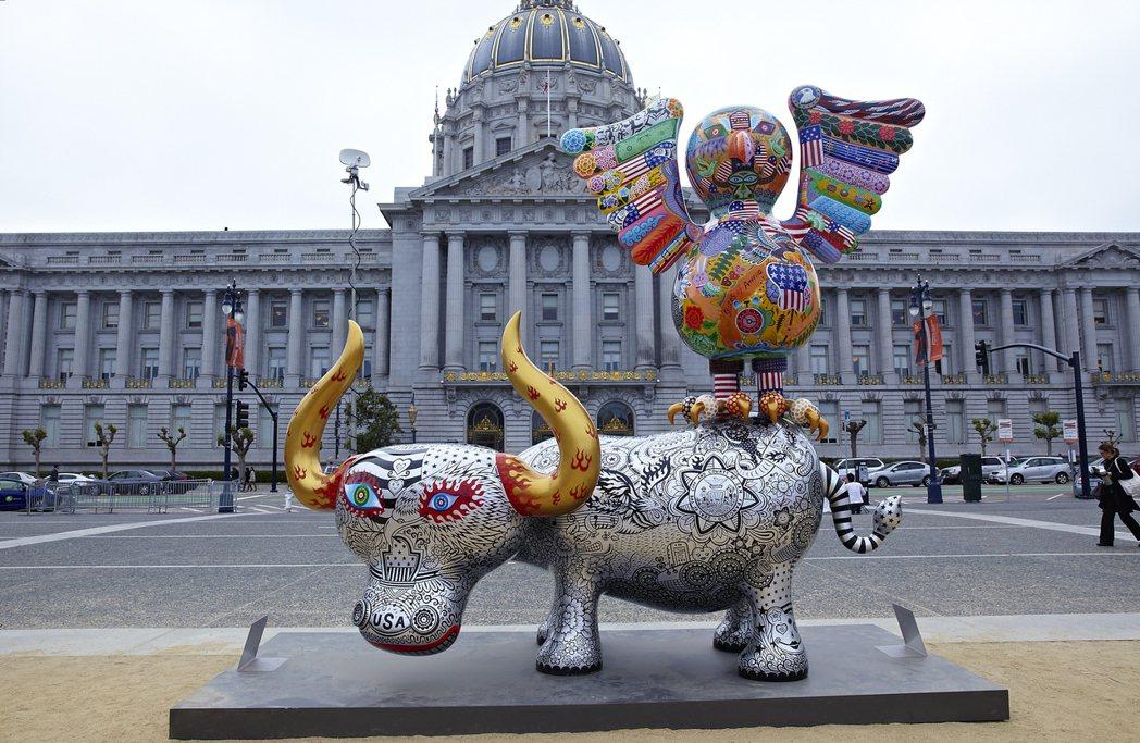 洪易作品「鷹鴿水水牛」將於華盛頓City Center DC展出。 圖/文化部提...
