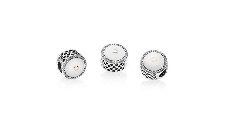 PANDORA 限量版珍貴的愛14K金透明鋯石琺瑯925銀串飾,2,980元。圖...