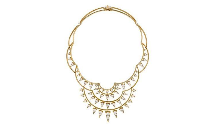 TRIPLICITY系列克萊斯勒圖騰鑽石項鍊,色澤溫暖的18K黃金詮釋曼哈頓黃昏...