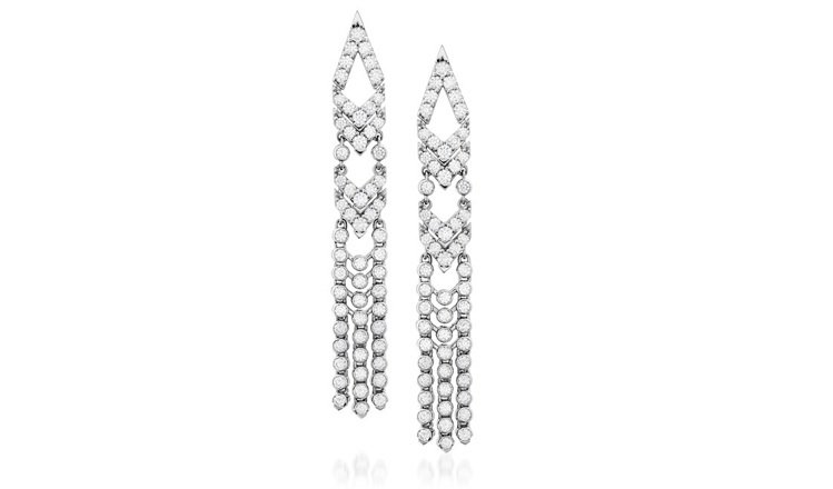 TRIPLICITY系列赫斯特圖騰流蘇鑽石耳環,呼應1920爵士搖擺年代,鑽石總...