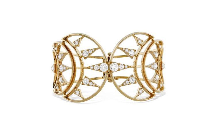 TRIPLICITY系列克萊斯勒圖騰鑽石手鐲,寬版設計充滿個性,完美展現20年代...